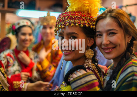 portrait of actresses in traditional uzbek costumes of 19