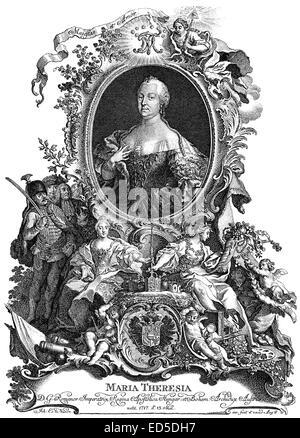 Maria Theresa of Austria, 1717 - 1780, Archduchess of Austria and Queen of Hungary, Croatia and Bohemia, Maria Theresia - Stock Photo