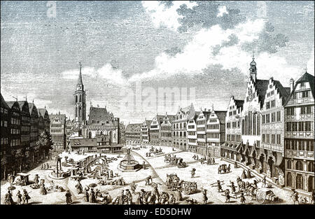 Historical  cityscape, Roemerberg square, Frankfurt am Main, Hesse, Germany, 18th Century, historische Stadtansicht - Stock Photo