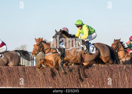 Cottenham, Cambridgeshire, UK. 28th December, 2014. Riders compete at the Cambridgeshire Harriers Hunt Club Point - Stock Photo