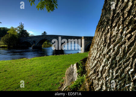 The Bridge at Taymouth, Kenmore, where The River Tay drains from Loch Tay on the edge of Loch Lomond and the Trossachs - Stock Photo
