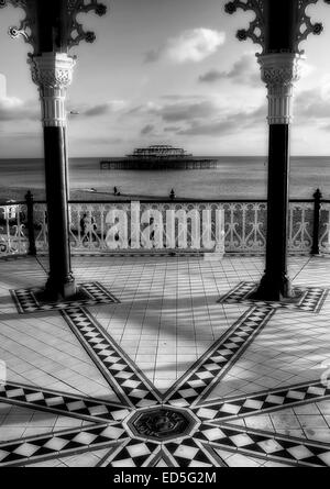 The view from Brighton Bandstand looking out over the West Pier that was burnt down in Brighton, East Sussex. - Stock Photo