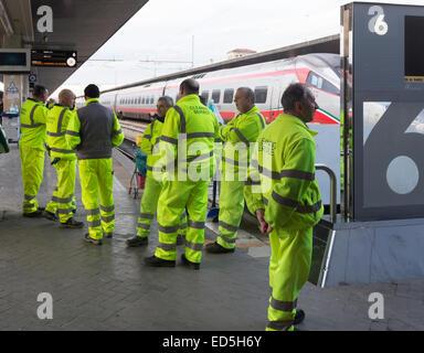 Trenitalia cleaning service crew, Santa Lucia Station, Venice, italy - Stock Photo