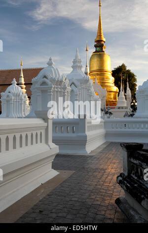 Mausoleums and stupa, Wat Suan Dok, Chiang Mai, Thailand - Stock Photo