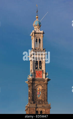 Amsterdam Westertoren Wester Toren, Westerkerk, West Church Tower, icon and symbol for the city and the Jordaan - Stock Photo