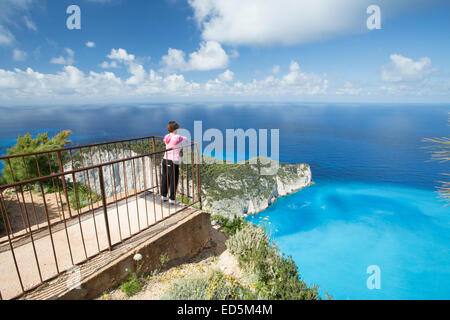 Overlooking Navagio Bay and Shipwreck in Zakynthos, Ionian Sea, Greece - Stock Photo