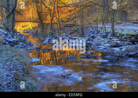 The stunning tones of a low sinking winter sun on a small stream in Wensleydale at Hardraw in the Yorkshire Dales - Stock Photo