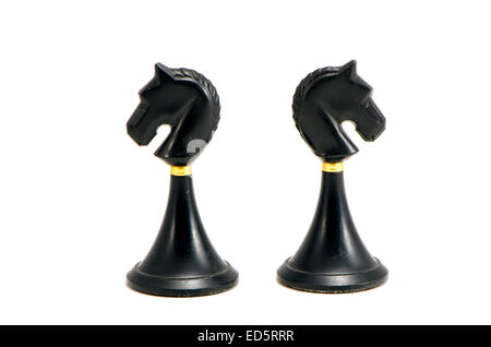 two vintage black horse chess isolated on white background - Stock Photo