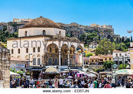 Tsisdarakis Mosque in the Monastiraki district, Athens, Greece - Stock Photo