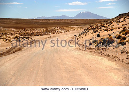 Dusty roads through the Atacama desert, near the border of Chile and Bolivia. - Stock Photo