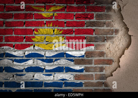 Dark brick wall texture with plaster - flag painted on wall - Kiribati - Stock Photo