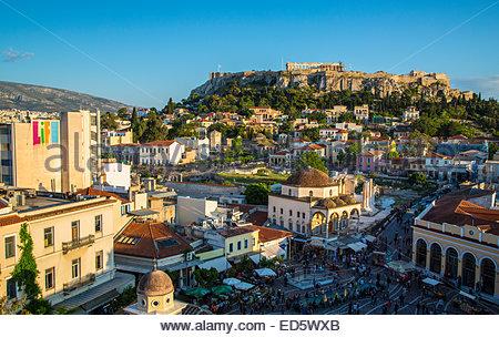 The flea market, Monastiraki Mosque and the Parthenon in Athens, Greece - Stock Photo