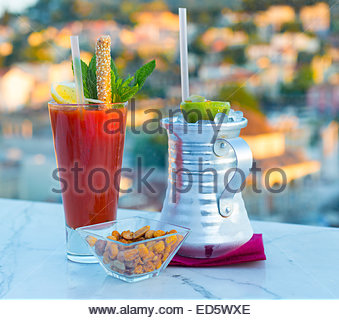 Cocktails with a view of the Parthenon in Athens, Greece - Stock Photo