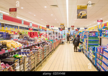 Aldi supermarket aisle, London, England, UK