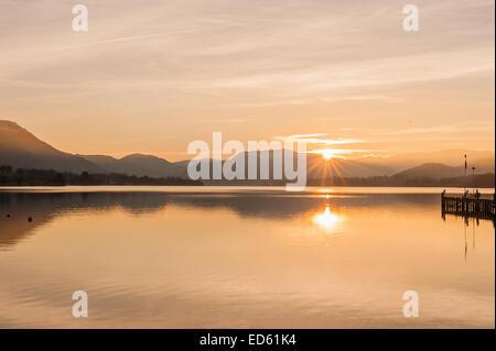 Sunset over Lake Ullswater Cumbria - Stock Photo