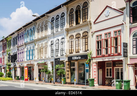 Singapore terraced colourful shophouses in Tanjong Pagar Rd, Singapore - Stock Photo