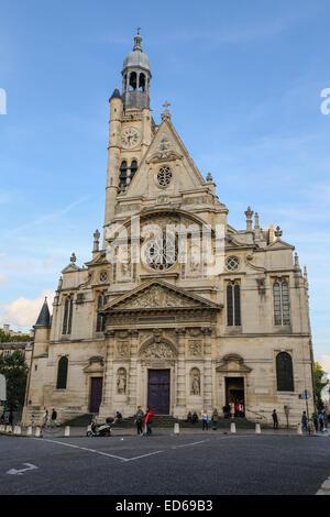 Saint-Étienne-du-Mont is a church in Paris, France, located on the Montagne Sainte-Geneviève near the Panthéon. - Stock Photo