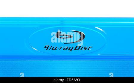 Blu ray disc logo format branding England UK - Stock Photo