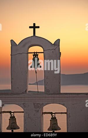 The sunset from Agios Minas in Santorini island, Greece - Stock Photo