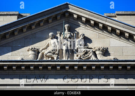 Scales of Justice on the Law Courts Building, Winnipeg, Manitoba, Canada. - Stock Photo