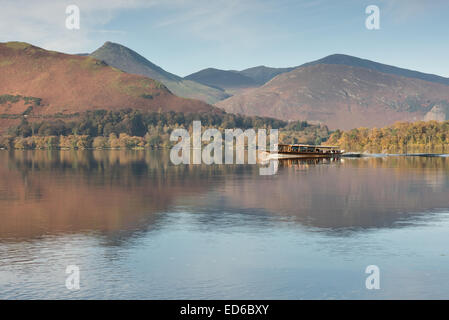Keswick Launch on Derwentwater, with Cat Bells, Causey Pike and hills in background - Stock Photo