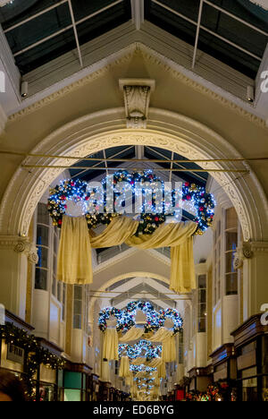 Christmas decorations in Burlington Arcade, London, UK. - Stock Photo