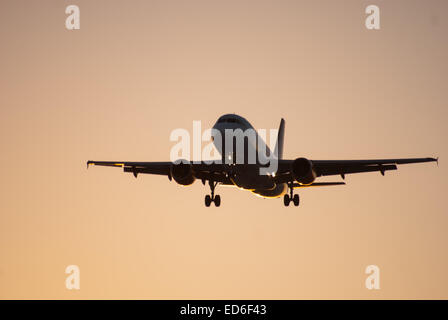 Airplane coming in to land at Edinburgh Airport. Edinburgh Airport is located at Ingliston in the City of Edinburgh, Scotland.