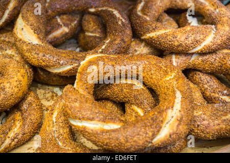 Turkish simits in an ethnic bakery in New York on Friday, December 26, 2014. The simit, similar to a New York bagel - Stock Photo