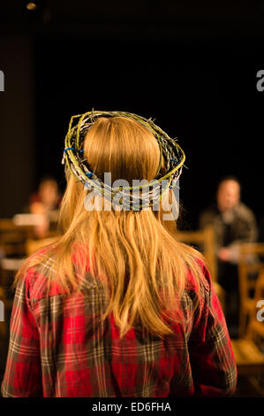 Theatre studies students actors at Aberystwyth University acting performing in a welsh language multimedia physical - Stock Photo