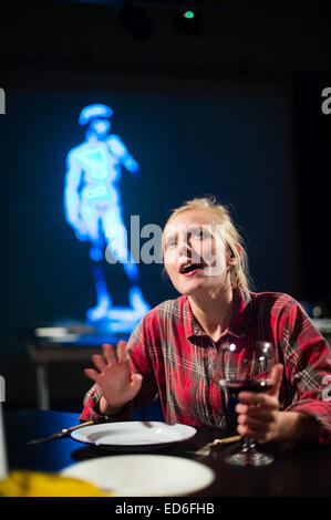 A female girl theatre studies student actor at Aberystwyth University acting performing in a welsh language multimedia - Stock Photo
