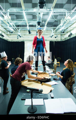 Theatre studies students at Aberystwyth University performing in a welsh language multimedia physical theatre production - Stock Photo
