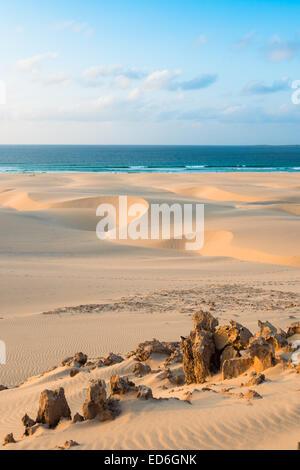 Sand dunes  in Chaves beach Praia de Chaves in Boavista Cape Verde - Cabo Verde - Stock Photo