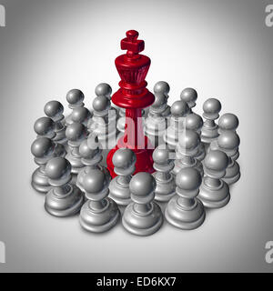Checkmate business concept and team strategy symbol as an organized group of small chess pawns coming together to - Stock Photo