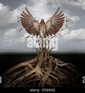 New life breaking free as a concept for freedom and power as the rise of the phoenix to be reborn and overcome challenges - Stock Photo