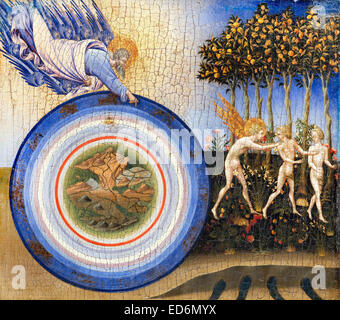 Giovanni di Paolo, The Creation of the World and the Expulsion from Paradise 1445 Tempera and gold on wood. Metropolitan - Stock Photo