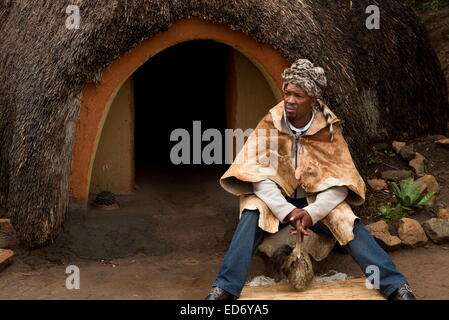The Inyanga or herbal healer in a traditional Basutho village of Lesotho people. - Stock Photo
