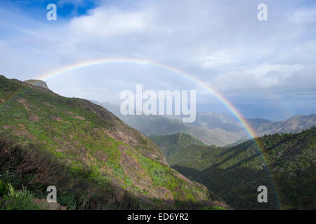 Rainbow, Garajonay National Park, La Gomera, Canary Islands, Spain - Stock Photo