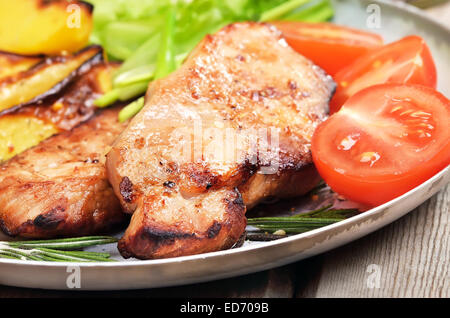 Grilled steak and vegetable, close up view - Stock Photo