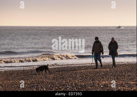 A couple and their dog getting out after Christmas and enjoying an afternoon walk on Southwold Beach in Suffolk - Stock Photo