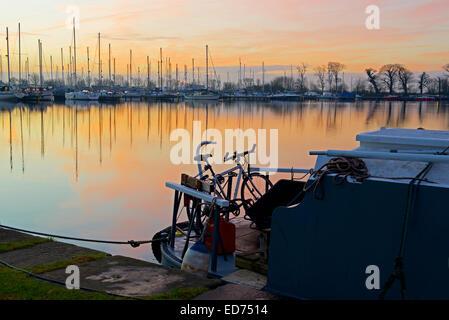 Bike on narrowboat, Glasson Dock, near Lancaster, Lancashire, England UK - Stock Photo