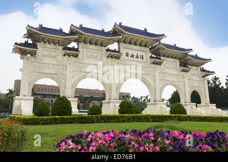 Front main gate at the Chiang Kai-shek Memorial Hall in Taipei, Taiwan in daylight - Stock Photo