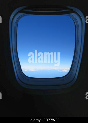 view from airplane window while in flight - Stock Photo