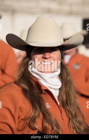 London, UK. 30th December, 2014. Big Bertha the biggest marching band drum in the World 'Texas Longhorn Alumni, - Stock Photo