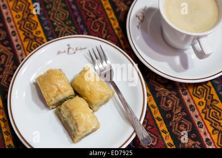 Turkish coffee and baklava honey filo pastry at Sark Kahvesi cafe in The Grand Bazaar Kapalicarsi great market, - Stock Photo