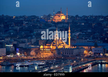 Skyline city scene Yeni Camii great mosque by Golden Horn of Bosphorus River and Hagia Sophia in Istanbul, Republic - Stock Photo