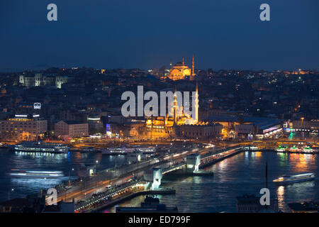 City scene Yeni Camii great mosque by Golden Horn of Bosphorus River, Topkapi Palace, Hagia Sophia Istanbul, Republic - Stock Photo