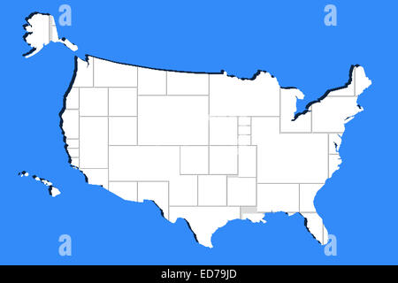 Blank Empty Photo Frame In Usa Map Shape On Blue Stock Photo