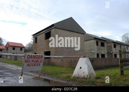 Imber is an uninhabited village in part of the British Army's training grounds on the Salisbury Plain, Wiltshire, - Stock Photo