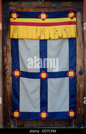 ... Traditional Tibetan Buddhist Door Covering at the Buddhist Kurjey Lhakhang Temple near the town of Bumthang & Traditional Tibetan Buddhist Door Covering Gangteng Monastery Stock ...