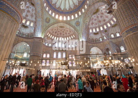 Tourists view domes of the Blue Mosque, Sultanahmet Camii or Sultan Ahmed Mosque 17th Century in Istanbul, Turkey - Stock Photo
